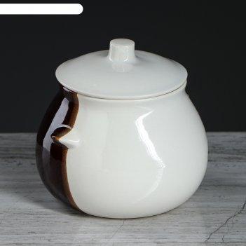 Горшок для запекания бело-коричневый 0,6л