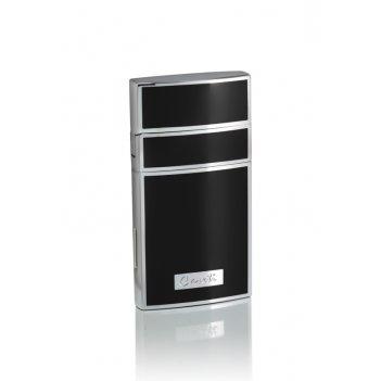 Зажигалка caseti газовая турбо, покрытие хром + черный лак, 7,