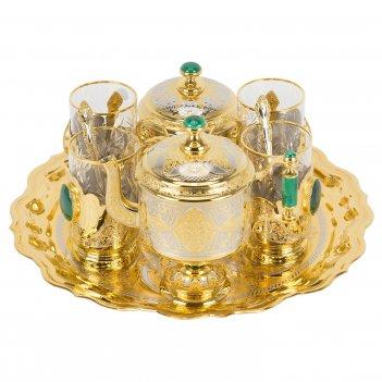 Чайный набор малахитовый позолота