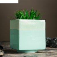 Кашпо керамическое куб зеленое 11*11*13 см