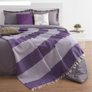 Плед-покрывало elegance, 140х220 ± 5 см, цвет фиолетовый.