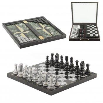 Шахматы, шашки, нарды 3 в 1 змеевик 435х430 мм