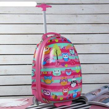 Чемодан детский, отдел на молнии, 2 колеса, цвет розовый