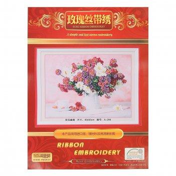 Набор для вышивания лентами букет полевых цветов размер основы 40*50 см