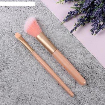 Набор кистей д/макияжа 2пр 13см пласт роз пакет qf