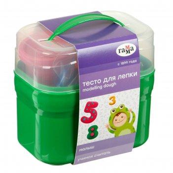 Тесто для лепки малыш. учимся считать , 4 цвета * 60г, 15 формочек, пласти