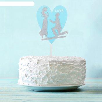 Топпер «влюбленная пара», цвет серебряный