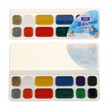 Акварель «луч престиж», 12 цветов, в пластиковой коробке, без кисти
