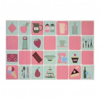 Наклейка на кафельную плитку кухонная утварь и десерты 45х75 см