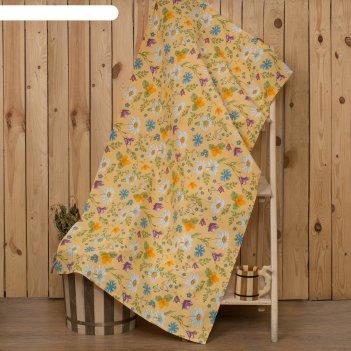 Полотенце для бани collorista русское поле 80х 150 см,  хлопок вафельное п