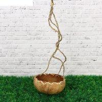 Кашпо подвесное плетеное, кокосовое,(d12*н8)