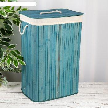 Корзина для белья прямоугольная «бамбук», цвет бирюзовый