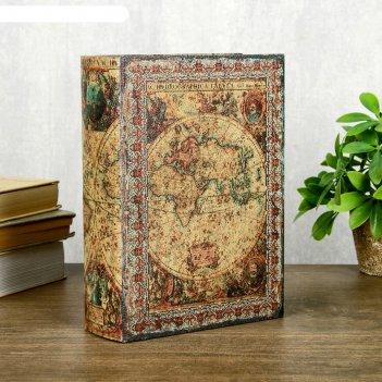 Шкатулка-книга дерево кожзам старинный атлас 23х17х6 см