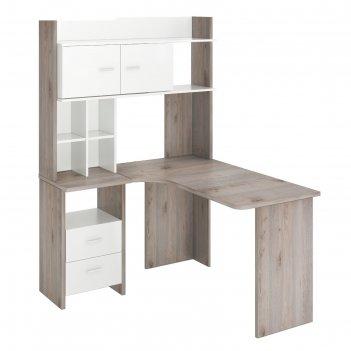 Компьютерный стол, 1200 x 1300 x 1785 мм, левый угол, цвет нельсон/белый