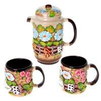 Набор чайный высокий деревня цветная лепка 3 пр
