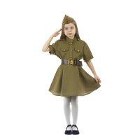 Карнавальный костюм военного:платье,короткий рукав,пилотка,р-р42 рост158-1