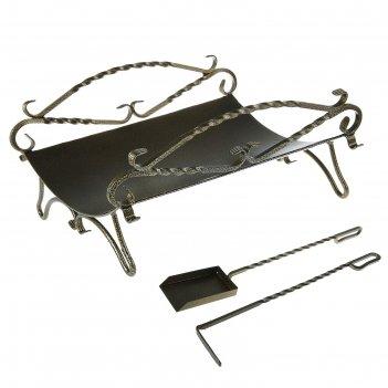 Каминный набор с дровницей кованый ажур 2 предмета: кочерга, совок