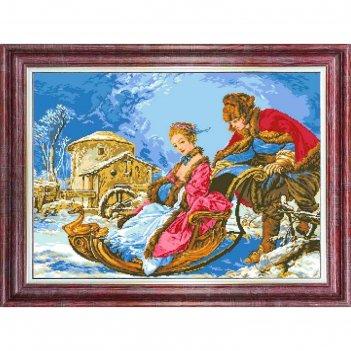 Канва с нанесенным рисунком для вышивки крестом «зимнее катание», 37х70 см
