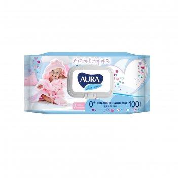 Салфетки влажные aura ultra comfort для детей 100 шт, микс