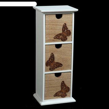 Шкатулка дерево комод 3 ящика ажурные бабочки 33,8х13х10 см
