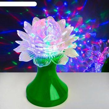Световой прибор хрустальный шар цветок диаметр 12,5 см, 220 в, зелёный
