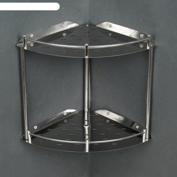 Полка угловая 2-х ярусная 22,5х32,5х12 см, нержавеющая сталь