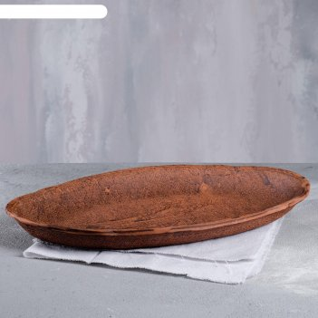 Блюдо овал, под мешковину, красная глина, 38 см