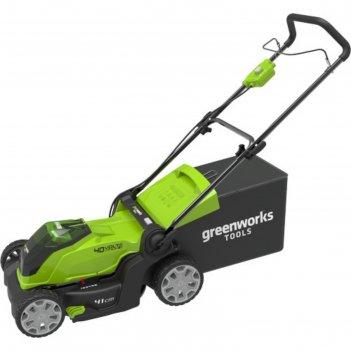 Газонокосилка greenworks 2504707vb, 40 вт, 1*4ач, з/у, ширина скоса 40 см