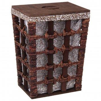 Корзина для белья плетеная прямоугольная тропикана 36,5*26,5*48 см
