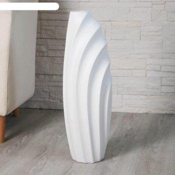 Ваза керамика напольная волны 7х58 см, белый
