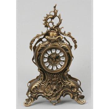 5712 каминные часы бронза с завитком кашт. 35х21см