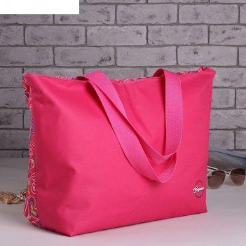 6910 п-600/д сумка пляжная bagamas, 57*12*40, отдел на молнии, розовый/сер