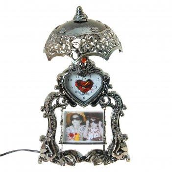 Часы-светильник с будильником и фоторамкой сердце (9 х 8 см), от 220v