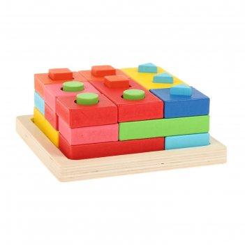Пирамидка логическая цвета и формы в пакете