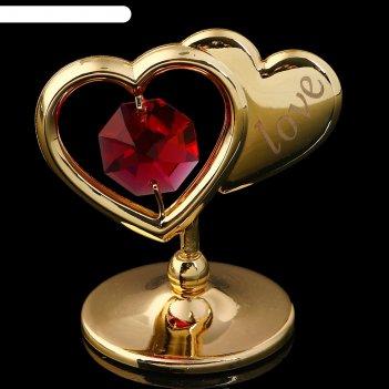 Сувенир «два сердца», 4,5x4,5x3 см, с кристаллами сваровски