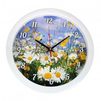Часы настенные круглые ромашки, 28х28 см
