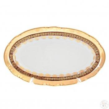 Блюдо овальное thun констанция рубин золотой орнамент 21см