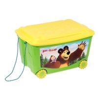Ящик для игрушек на колесах маша и медведь зеленый