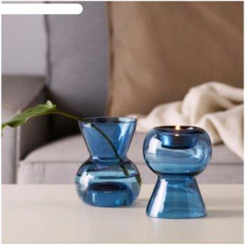 Подсвечник стокгольм, 12 см, для греющей свечи, ваза, синий
