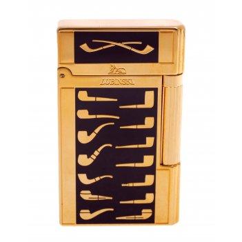 Зажигалка трубочная lubinski celebration, золото с бордо