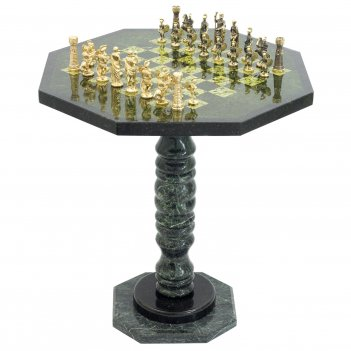 Шахматный стол фигуры римские бронза змеевик