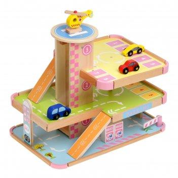 Игровой набор парковка с вертолетной площадкой