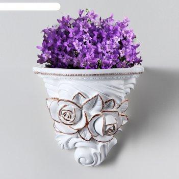 Декоративное кашпо розы №9 бело-золотой