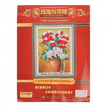 Набор для вышивания лентами букет с лилиями размер основы 46*35 см