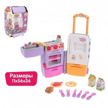 Игровой набор кухня-чемодан на колесиках складной: плита, холодильник, рак