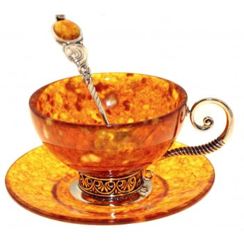 Чайный набор антик из янтаря (на 6 персон)