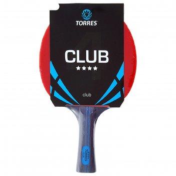 Ракетка для настольного тенниса torres club 4, для тренировок, накладка 2,