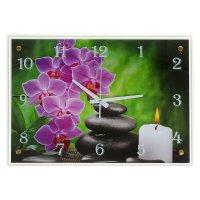 Часы настенные прямоугольные свеча, цветы и камни, 40х56 см