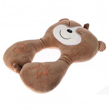 Подушка дорожная детская мишка, цвет коричневый
