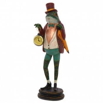 Фигурка декоративная лягушка с часами, l15,5 w14 h46 см